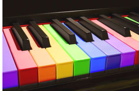 picture of piano with colored keys